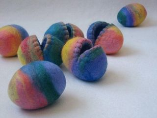 Felted wool eggs