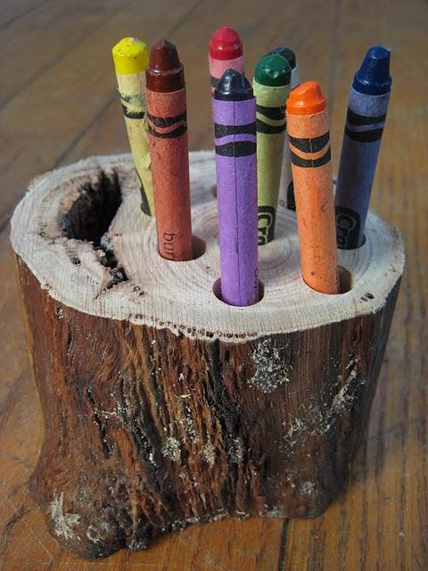 Wooden crayon holder