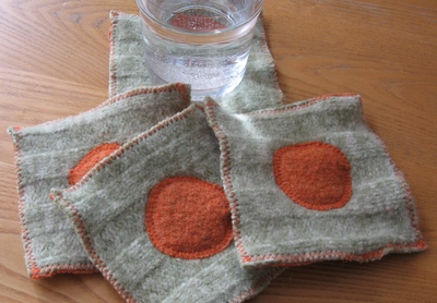 Felted drink coasters