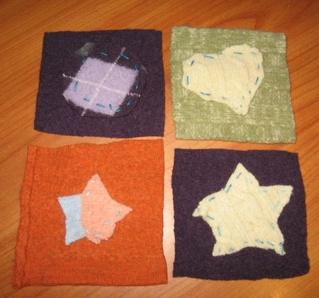 Felted sweater coasters (kids)