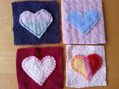 Felted hearts 4