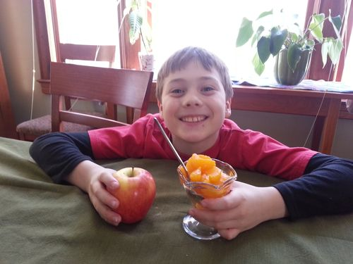 Liam with fruit